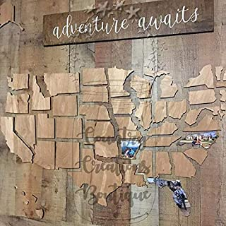 U.S. Map Wooden Cut Out For You To Make Memories of Your Travels On, United States Wooden Map