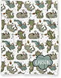 Luxuriously Soft Personalized Baby Name Blanket for Nursery Crib Throw or Toddler Bed | Cute Kawaii Dragon Theme Minky Blanket for Boy