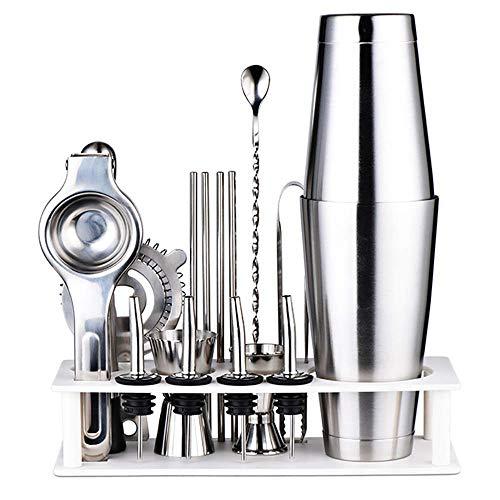 MIEMIE Kit de Fabrication de Cocktails Boston Shaker Set 17 pièces Barware - 2 Tasse à mesurer Presse-Agrumes Filtre à Glace broyeur bâton Clip Bec Paille Maison Bricolage