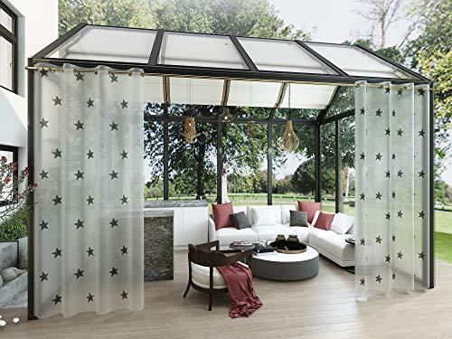 Clothink Outdoor Vorhänge mit Ösen 132x305cm (1 Stück) - Winddicht Wasserdicht Vorhänge Outdoor Gardinen, Mehltau beständig, für Gartenlauben Balkon, Strandhaus Vorhalle, Pergola, Cabana