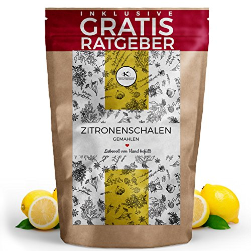 Zitronenschalen gemahlen 100g I Zitronen Schalen fein gemahlen aus Spanien inkl. gratis Ratgeber I hochwertiges Gewürz aus 100% frischen Zitronen