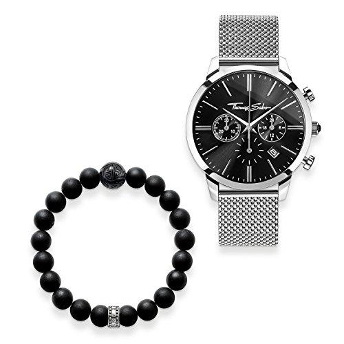 THOMAS SABO Herren Herrenuhr Rebel Spirit Chrono mit Armband 925 Sterlingsilber; Edelstahl Milanaisearmband SET0519-623-11