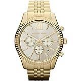 Michael Kors - Reloj de hombre redondo, con números romanos, cuarzo, talla única, dorado, oro