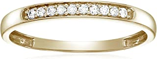 1/10 cttw Diamond Wedding Band in 10K White or Yellow Gold Prong Set