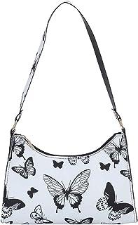 Damen Unterarmtasche, Damen Achseltasche Umhängetaschen Fashion Drucken Bag Vintage Kleine Schultertasche Achseltasche Han...