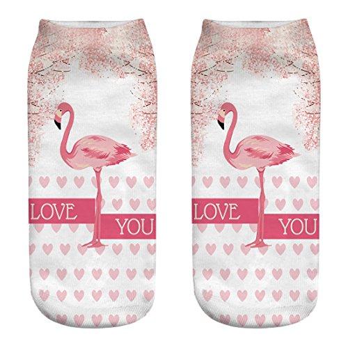 NANAYOUPIN sokken ademend 5 paar nieuwe 3D-print schattige flamingo roze rood cartoon-patroon mannen vrouwen en meisjes katoen casual comfort sokken volwassenen gemiddelde maat sok