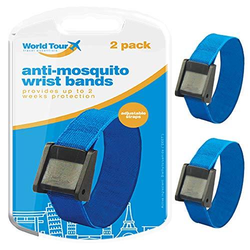 Lot de 4 bracelets anti-moustiques réglables 100 % DEET 300 heures + deux semaines Protection efficace