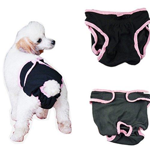 POPETPOP Pañales para Perros, Pantalones Higiénicos de Lavable para Cachorros, Pañales Higiénicos para Perros Pequeños y Medianos - Tamaño XS (Negro)