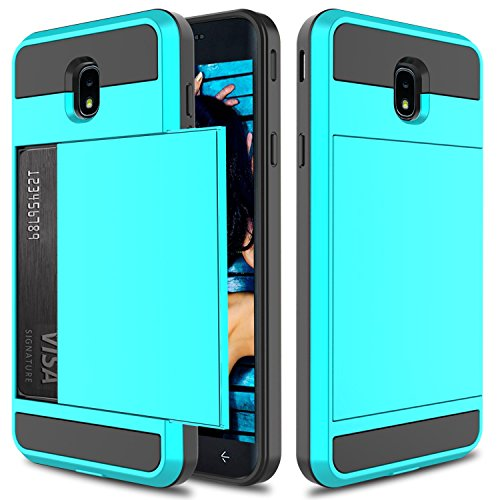 Galaxy J7 2018 Case, J7 Crown Case, J7 Refine, J7 Star Case,Elegant Choise Hybrid Dual Layer Shockproof Wallet Case with Credit Card Slots Holder Protective Case Cover for Samsung J7 Aero (Blue)
