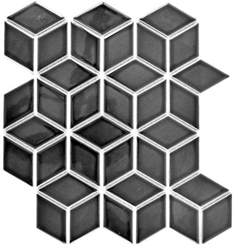 Mosaico Piastrelle in ceramica nero 3d cubo nero lucido per parete bagno doccia cucina Piastrelle Specchio banconi verkleidung badewannen verkleidung mosaico Matte mosaico Piastra