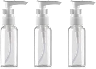 3PCS 50ML 1.7 oz Transparent BPA Free Empty Plastic Small Pump Bottles Jars Container For Body Wash Cosmetic Foundations Lotion Cream Soap Shower Liquid Bathroom Travel Dispenser