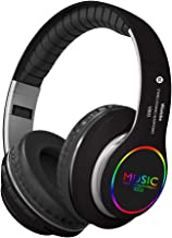 Bluetooth Over Ear Headphones, LED Light Up Wireless Headphones,Hi-Fi Stereo Foldable Wireless/Wired Headsets with Mic,Micro SD/TF, FM for iPhone/Samsung/iPad/PC/Kindl/Laptop/TV(Black)