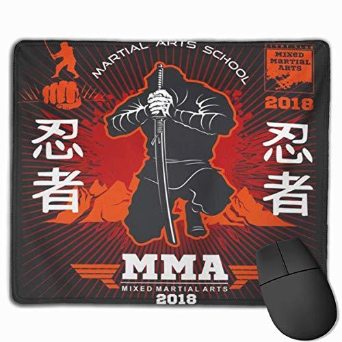 Mauspad, Schreibtisch-Mauspad, Mausmatte Rot Samurai Ninja Warrior Fighter Mixed Martial Auf Black Action Asia Asian Assassin