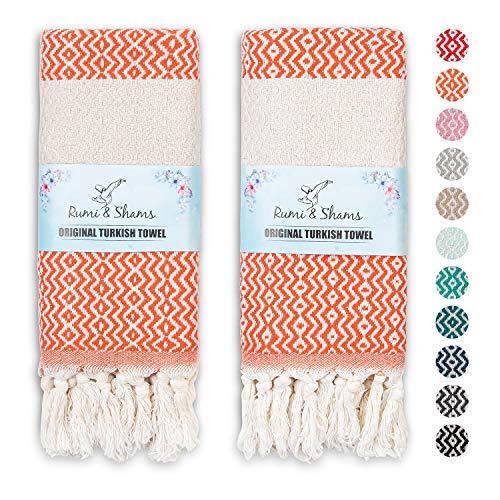 RUMI & SHAMS Turkish Hand Towels for Bathroom | 100% Cotton Farmhouse Hand Towels | 2 Pcs Decorative Towels for Bathroom | 16 x 35 Inches Turkish Towels | Ideal for Boho Kitchen Decor (Peach)