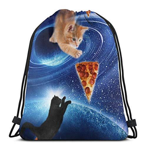 LREFON Gym Kordelzug Taschen Rucksack Katze Pizza Sackpack Tote Für Sport Aufbewahrung Schuh Veranstalter Schule Schulter Geschenk Taschen Kinder