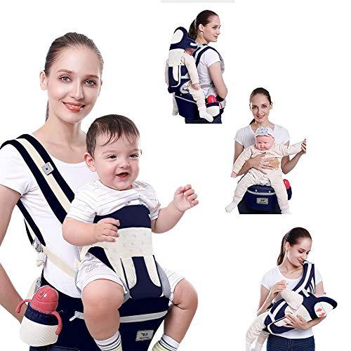 SaponinTree Marsupio Neonato Ergonomico con Sedile, Cotone e Traspirante con Imbottitura, Multiposizione con Cappuccio Rimovibile, Per Bebe e Bambino da 0 a 4 anni