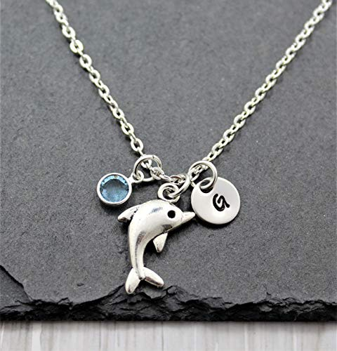 Dolphin Necklace for Women - Personalized Birthstone & Initial - Dolphin Jewelry for Women