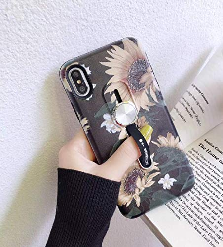 iPhone 8 Plus/7 Plus Case Finger Grip,3D Embossed Sunflowers Design Rugged Shockproof Slim Fit Dual Layer Finger Ring Loop Strap Case Work with Magnetic Car Mount for iPhone 8 Plus/7 Plus 5.5 inch