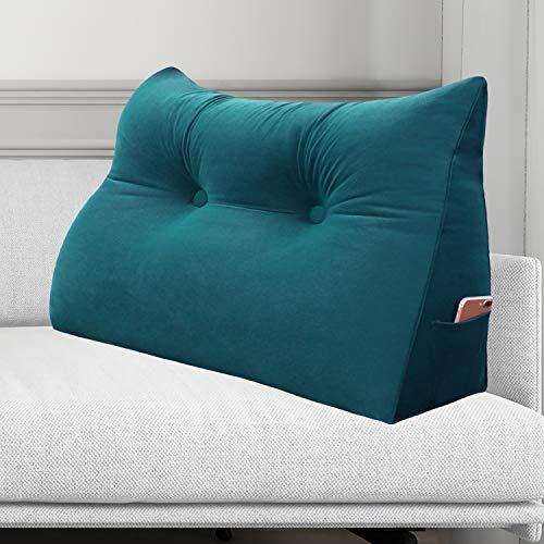 VERCART Suppprt Pillow Back Cushion Triangular Backrest Lumabr Wedge cushions for Sofa Bed Office Chair Velvet Cyan 60cm 23inches