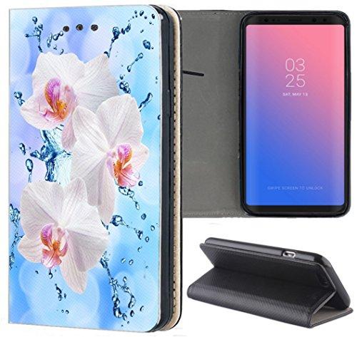 Handyhülle für Samsung Galaxy A3 2016 Premium Smart Einseitig Flipcover Flip Case Hülle Samsung A3 2016 Motiv (1112 Orchidee Blume Pink Rosa Blau)