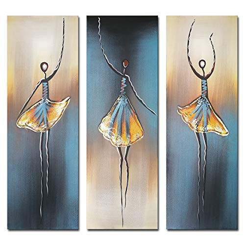 Wieco Art 3 Piece Dancing Ballerina Canvas Oil Paintings Wall Art Decor Large 100% Hand Painted Modern Gallery Wrapped Grey Ballet Dancers Artwork Home Decorations for Living Room Bedroom Kitchen L