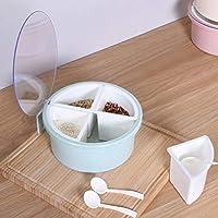 取り外し可能なスパイスストレージ4グリッド大容量砂糖塩とスプーン調味料ボックスペッパー透明ふた食品グレードPPキッチン用品 Jinlyp (色 : Blue)