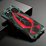 CeeDoo Military Case for iPhone 11 Pro Max/Xsmax Outdoor Sports Cover Aluminium Metal Bumper Hybrid Armor Built-in Soft Rubber - Green+Red