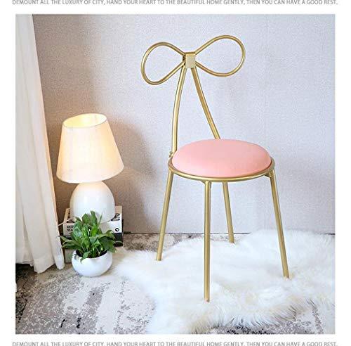 Shengluu Reposapies Salon Silla De La Mariposa del Arte del Hierro Vestir Silla con Respaldo De Habitaciones (Color : Pink)