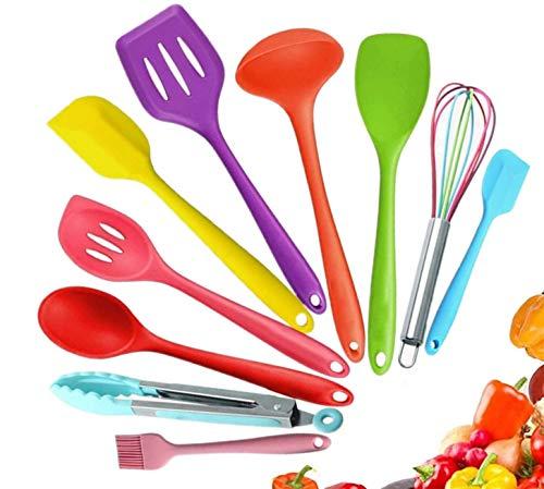 FINGER TEN Utensilios de Cocina de Silicona Juego de Cocina de 5 o 10 Utensilios de Cocina antiadherentes, Libres de BPA Tongs Espátula Cuchara Gadgets de Cocina(Multicolor-10 Piezas)