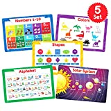 Simply Magic 5 Placemats for Kids - Kids Placemats Non Slip, Washable Reusable Toddler Placemats, Educational Placemats: Alphabet ABC, Shapes, Colors, Numbers, Solar System, Plastic Placemats for Kids