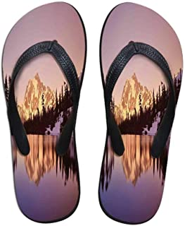 Lake House Decor Stylish Flip Flops,Rainbow Over Mountain Lake Reflection in Crystal Water Dreamy Spots on Earth Purity Photo for Women & Girls,US Size 5