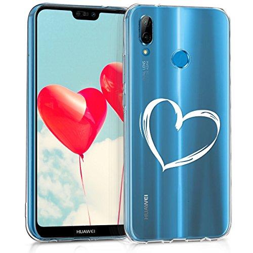kwmobile Cover Compatibile con Huawei P20 Lite - Custodia in Silicone TPU - Backcover Protettiva Cellulare Cuore Bianco/Trasparente