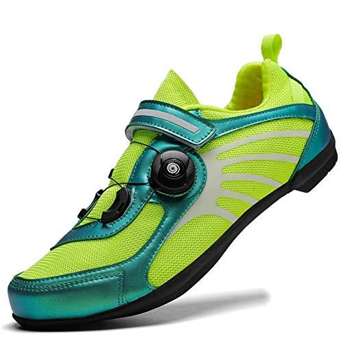 Charmstep Fahrradschuhe Herren Damen Anti-Skid Atmungsaktiv Radschuhe Rennradschuhe MTB Schuhe Flat Ohne Klicksystem,Grün,39 EU