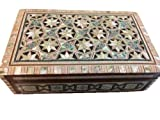 Egyptian Wood Jewelry Box Inlaid Mother of Pearl Handmade 8 x 5.2 x 2.4 inch