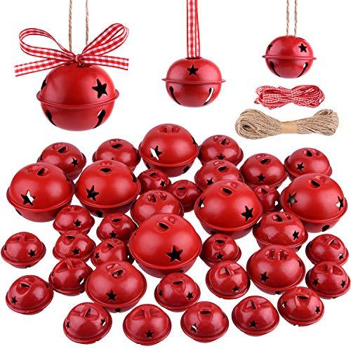 KUUQA 36 Pezzi campanelli Natalizi campanelli Artigianali Campane Natalizie con Stella per la Festa di Natale Albero di Natale ghirlande Ornamenti Vacanze Decorazioni Fai da Te