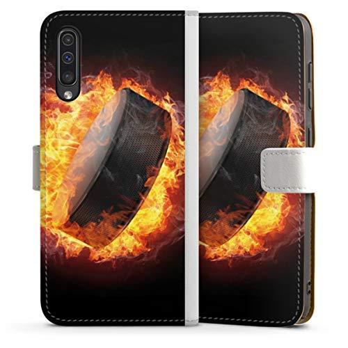 DeinDesign Klapphülle kompatibel mit Samsung Galaxy A50 Handyhülle aus Leder weiß Flip Case Eishockey Feuer