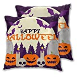 Abucaky Pillowcase Set of 2 Forest Bat Skull Pumpkin Candle Tombstone Halloween Throw Pillow Covers Shells for Couch Office Bedroom Home Decoration 22 X 22 inch