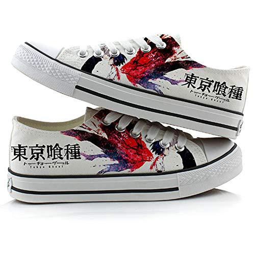 JPTYJ Tokyo Ghoul Kaneki Ken Zapatos de Lona Unisex Zapatos Casuales para Estudiantes de Anime Zapatillas con Cordones C-37