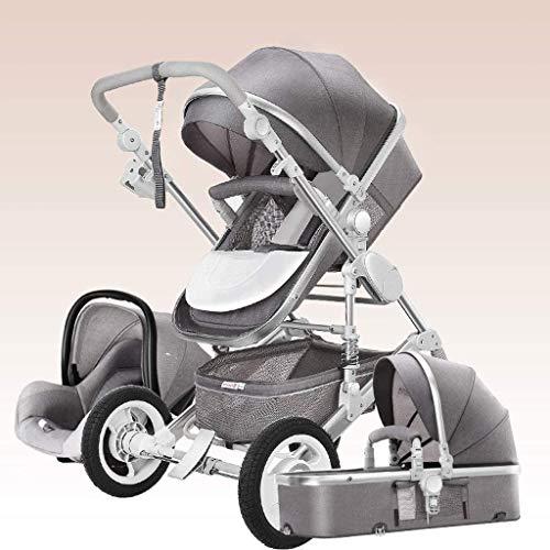 YZPTD 3 en 1 Sistema de Viaje Cochecito de bebé, arnés de 5 Puntos y Canasta de Alto Almacenamiento, Cochecito de Cochecito, Silla para bebés y recién Nacidos (Color : Gris)