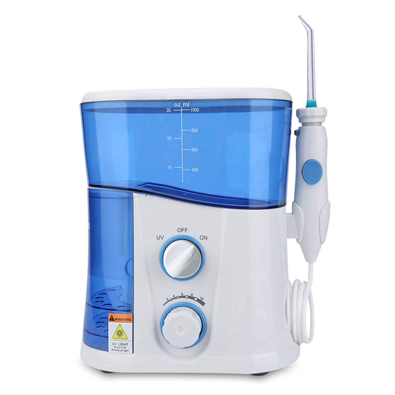 楕円形事故ジュラシックパーク口頭洗浄器、フロス洗浄器7ピーススプレーチップ1000ミリリットル水多機能充電式紫外線ランプ消毒歯ホワイトニングクリーニング