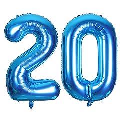 Idea Regalo - SMARCY Palloncini Gonfiabile Numero 20 Palloncini Compleanno 20 Anni Decorazioni Compleanno Blu