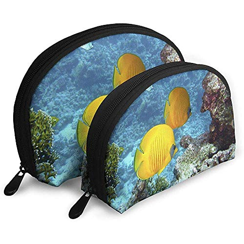 Arrecife subacuático Butterflyfish Bolsas portátiles Bolsa de Maquillaje Bolsa de Aseo Bolsas de Viaje portátiles multifunción Pequeña Bolsa de Embrague de Maquillaje con Cremallera