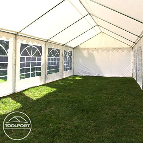 TOOLPORT Party-Zelt Festzelt 4x8 m Garten-Pavillon -Zelt ca. 500g/m² PVC Plane in weiß Wasserdicht - 6