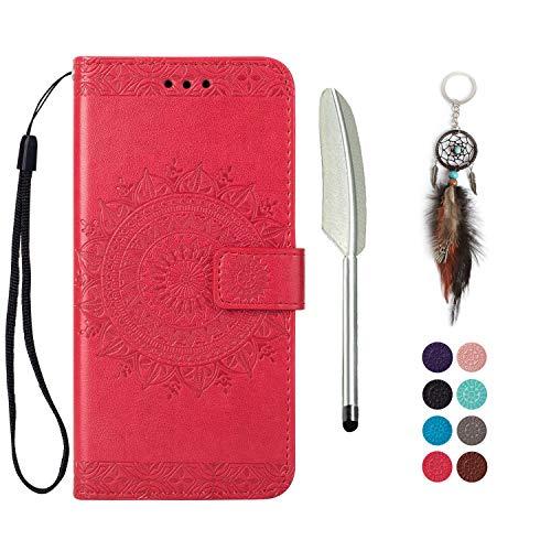 Preisvergleich Produktbild LA-Otter Kompatibel für Samsung Galaxy M30 Hülle Leder Mandala Rot Tasche handyhüllen mit Kartenfach Lederhülle Schutzhülle Flip Case Klapphülle