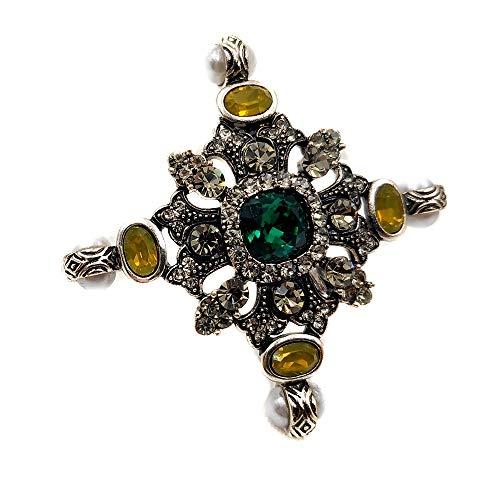 DreamlandSales Religiöse Vintage-Brosche mit Kronen-Akzenten, grüner Stein, gewölbtes Kreuz