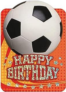 Paper House Soccer Ball on Orange Die Cut Foil Sports Birthday Card for Kids