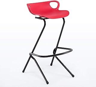 WER Taburete de Bar Taburete Alto, Respaldo Creativo Taburete de Metal Pata Barra Desayunador Café Cocina Sillas para el hogar, Verde/Rojo Silla del Comedor (Color : Red)