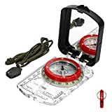 3. BIJIA Orienteering Map Compass -Sighting Mirror Compass with Adjustable Declination,Clinometer and LED light for Hiking, Camping,Orienteering,Hunting,Global Mountaineering,Navigating and SAR training.