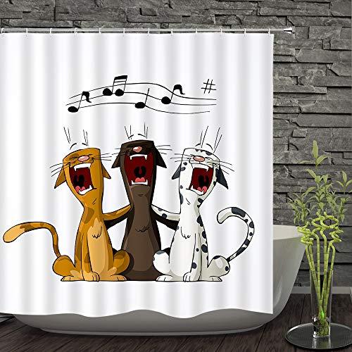 TWTIQ Tres Gatos Cantando Cortina De Ducha Material De Poliéster Moho Impermeable Baño Decoración 12 Ganchos150 * 180 Cm / 59 * 71 Pulgadas
