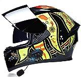 Motorbike Helmet Casco de motocicleta de cara completa Casco de motocicleta Bluetooth para adultos con visera solar doble antivaho Casco de motocicleta Auriculares Bluetooth incorporados Certificació